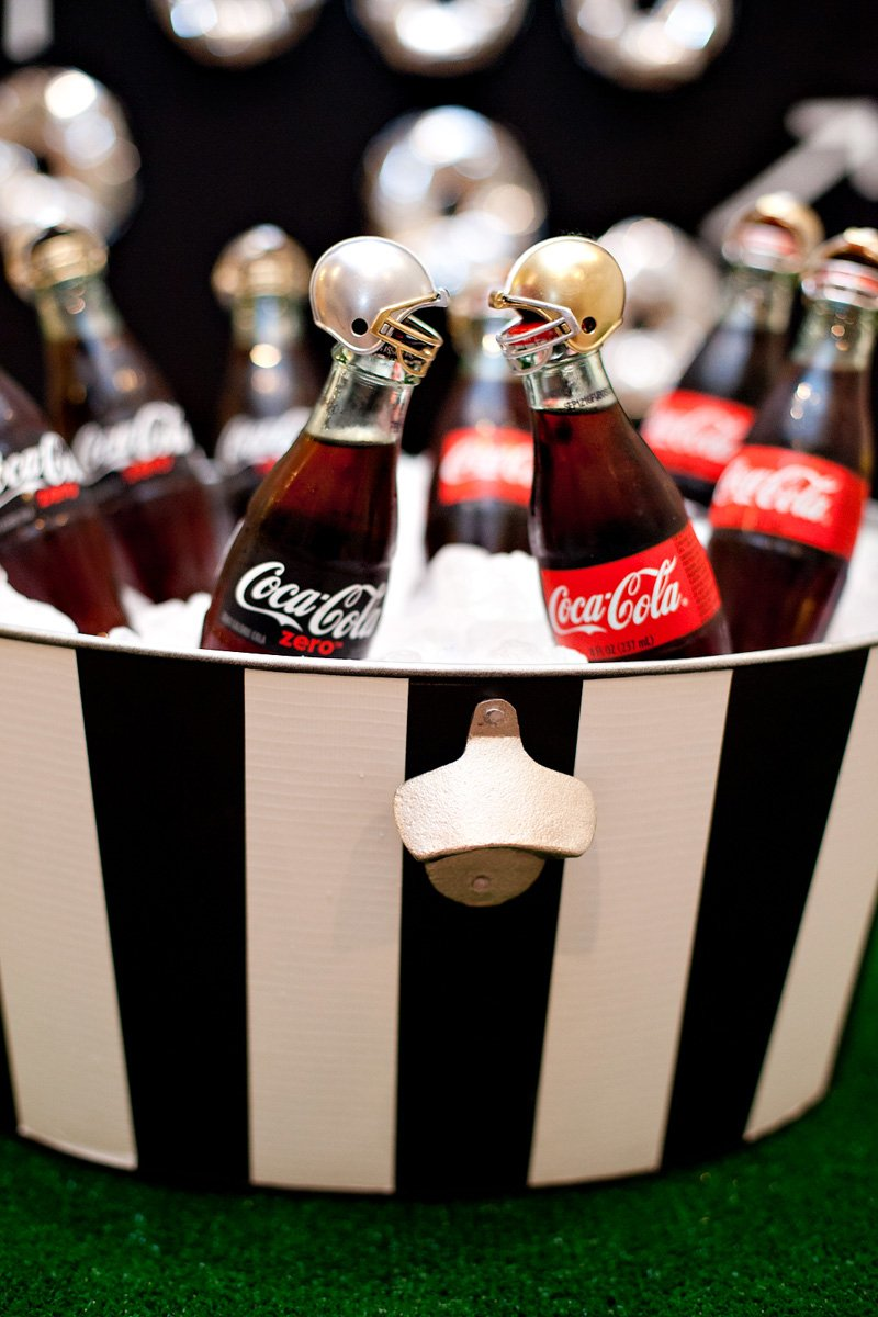 Black and White Referee Striped Party Tub + Player Bottles