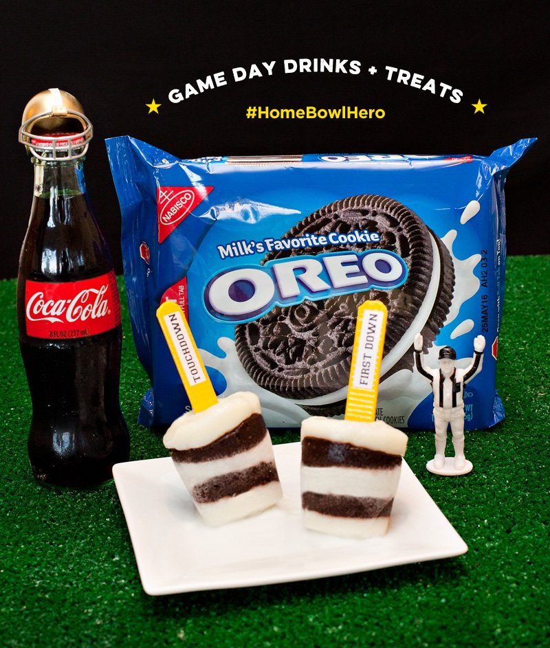 Referee OREO Pudding Pops + Coca-Cola Bottles with Football Helmets