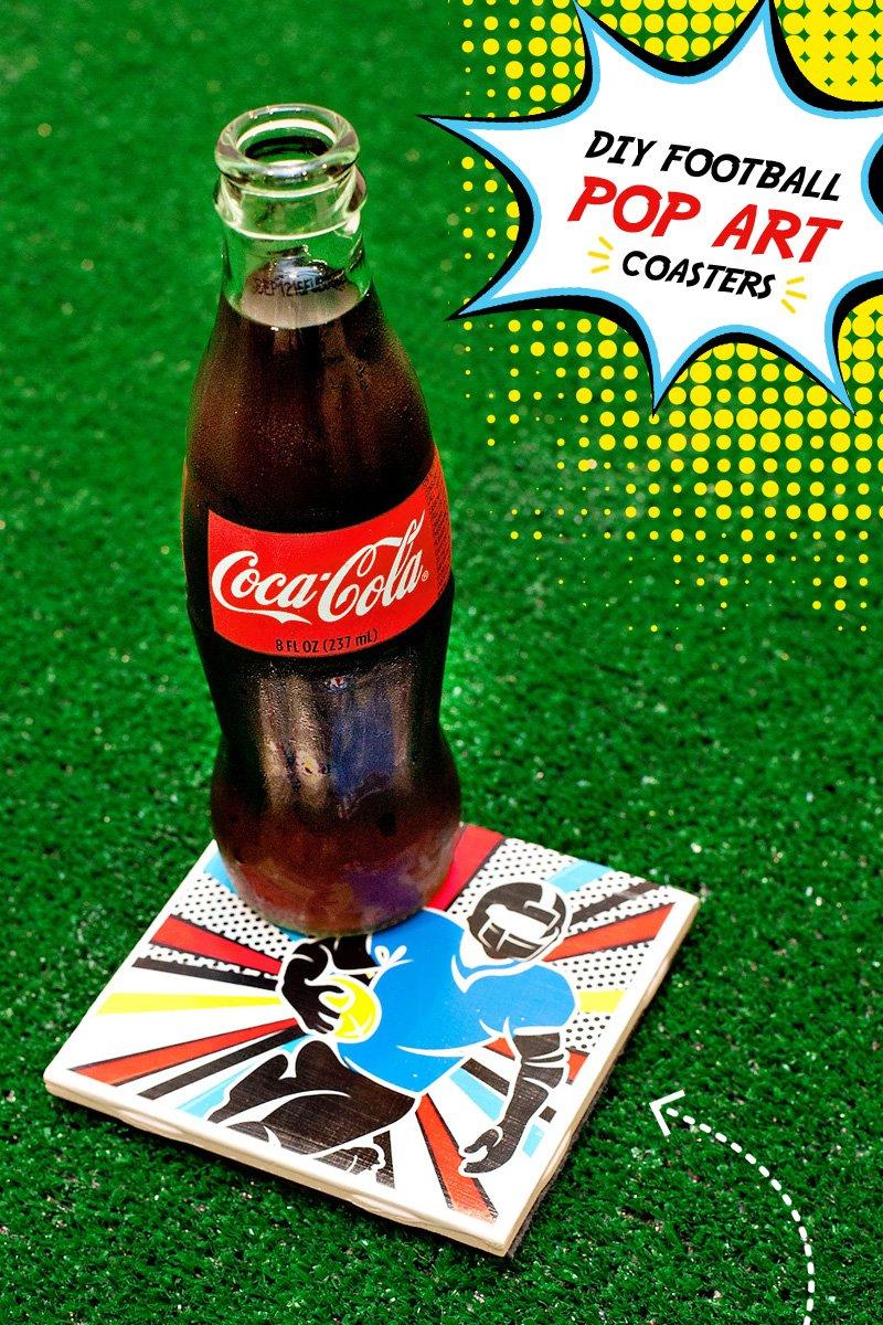 DIY Tile Coasters Tutorial - Pop Art Football Design