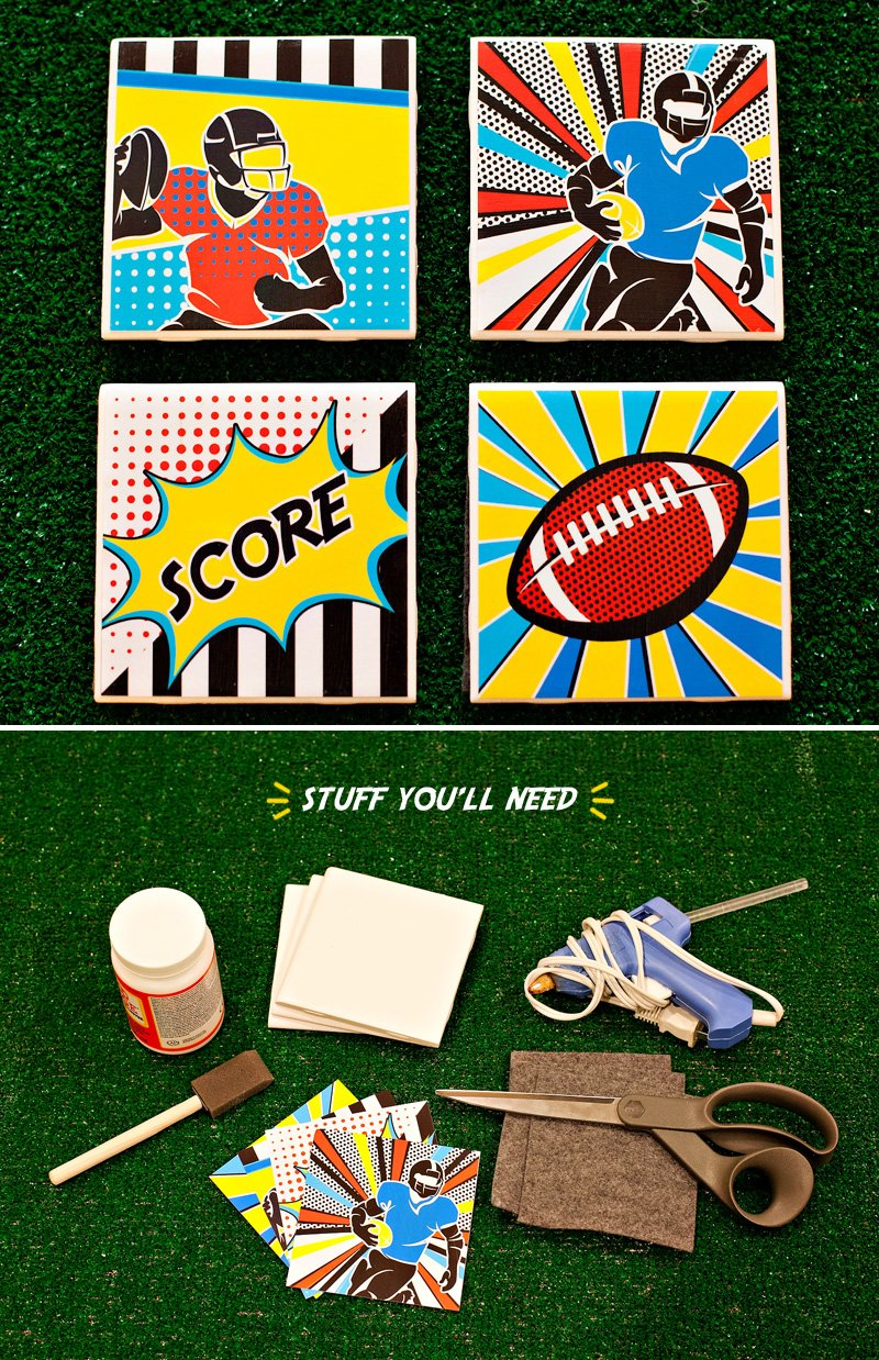DIY Football Pop Art Tile Coasters - Tutorial