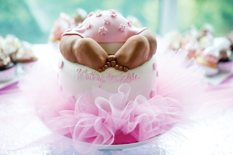 baby shower cake with tutu skirt