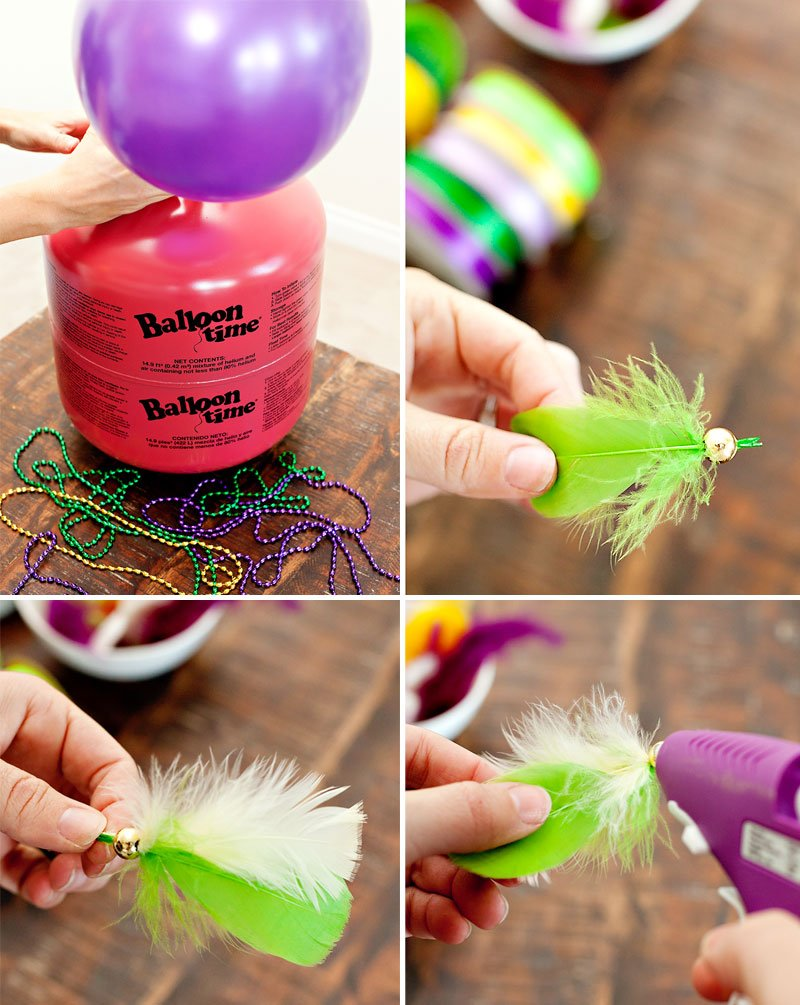 Feather Balloon Tassels - Mardi Gras