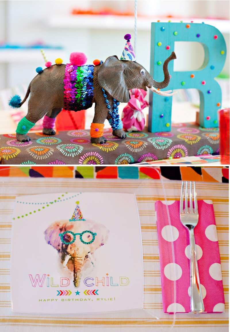 Party Animal Elephants - Centerpiece and Plates