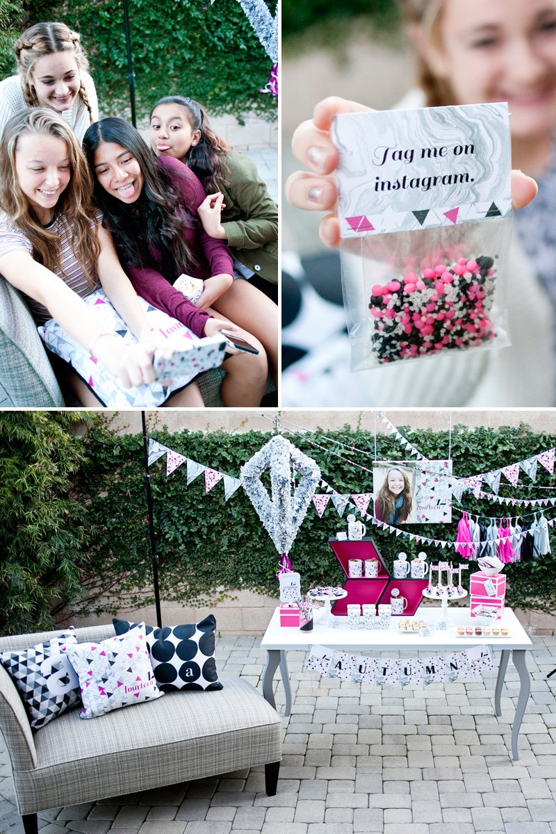 Geometric Teen Birthday Party - Pink Black Silver