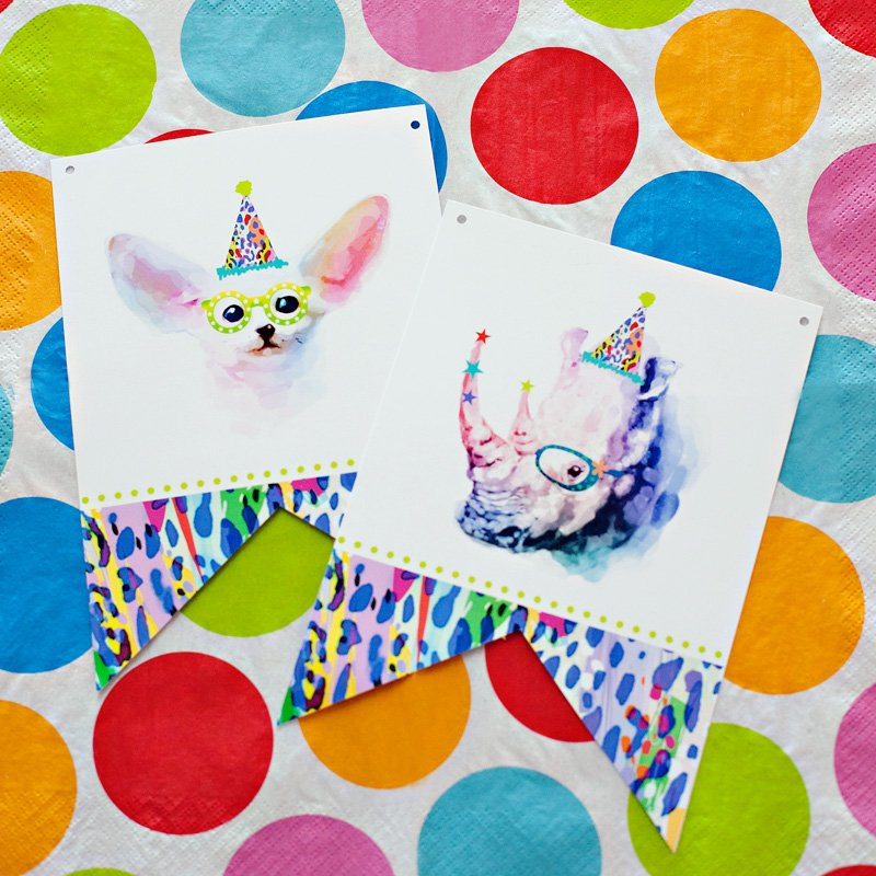 Party Animal Printable Banner - Rhino and Fox
