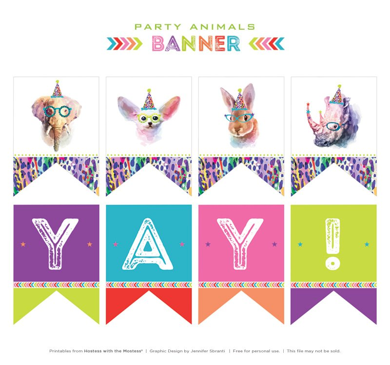 Free Printable Party Animals Banner