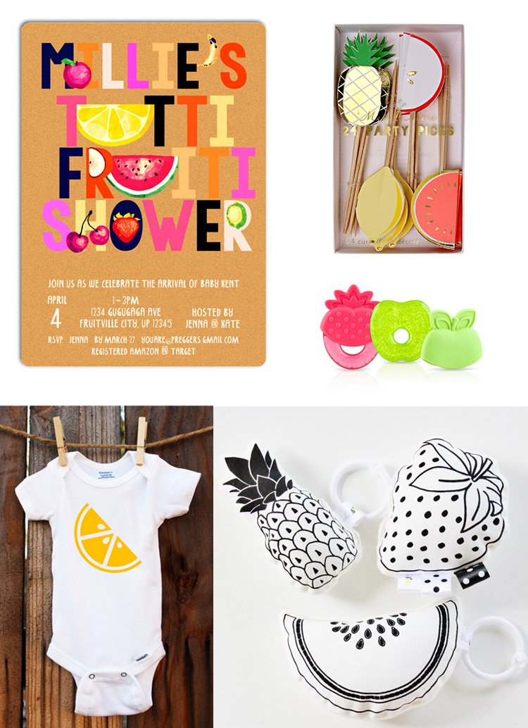 Fruity Baby Shower Invitation and Onesie