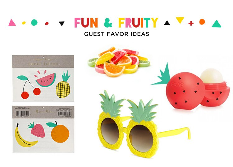 fruit party favor ideas - fruit tattoos, candy, sunglasses, and lip balm