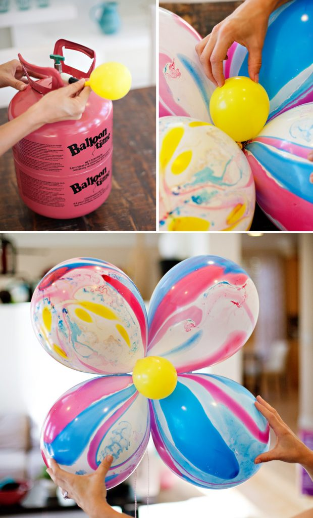 DIY Giant Marble Balloon Flowers