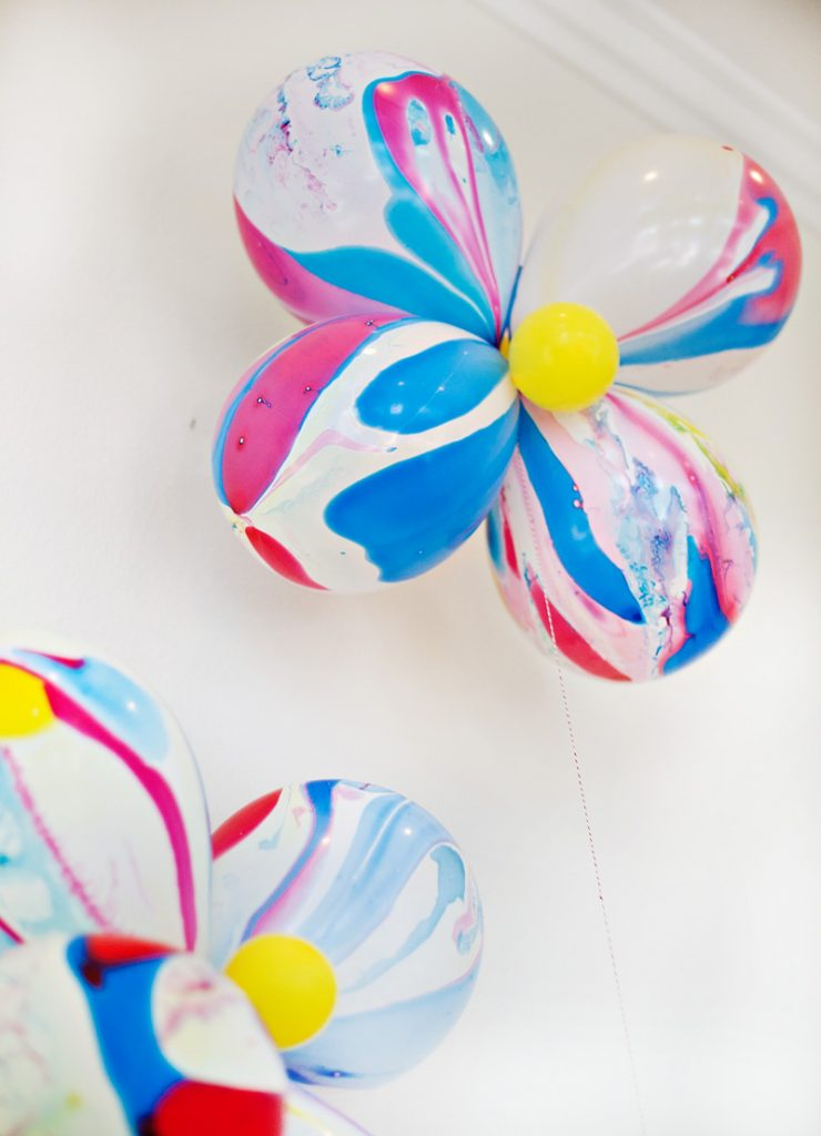 Red Yellow Blue Marble Balloon Flowers