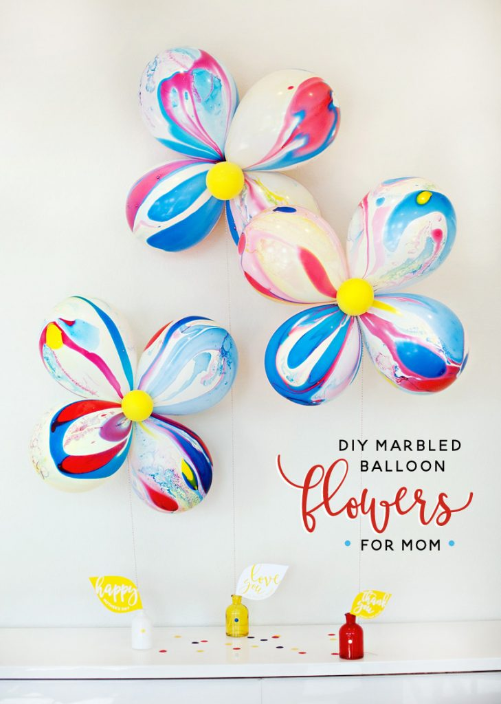 Marbled Balloon Flowers for Mother's Day - DIY Tutorial