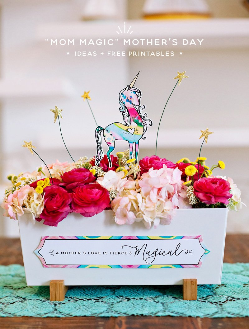 Unicorn Centerpiece with Mother's Day Quote