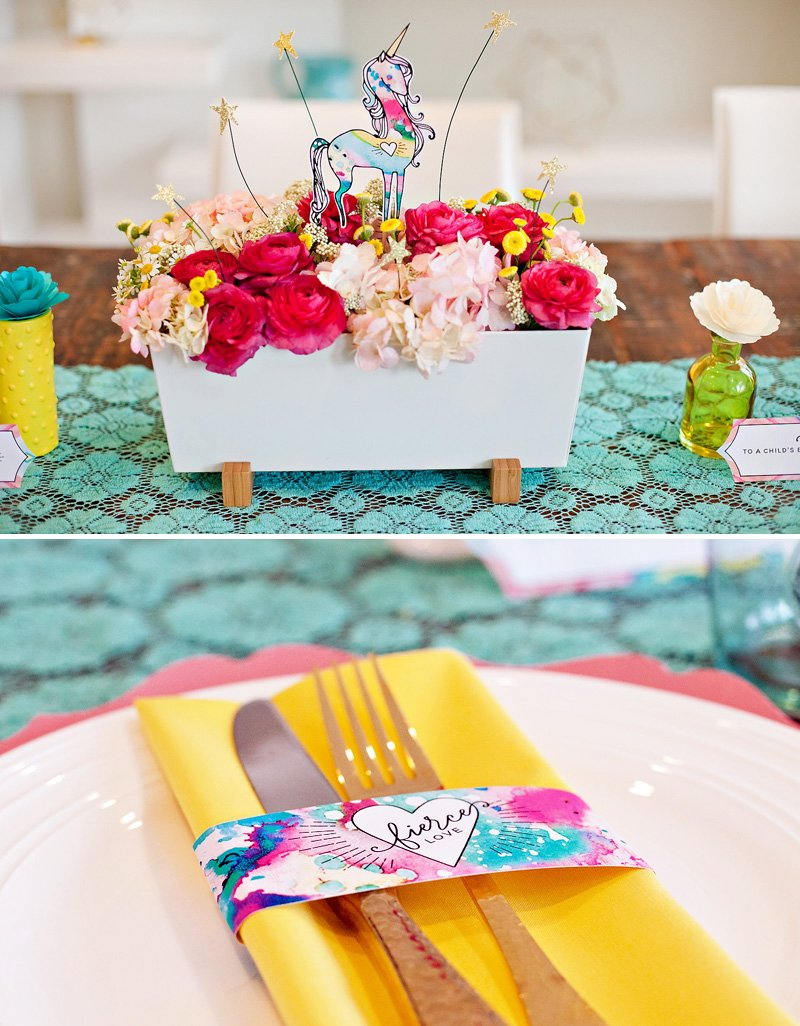 Pink Yellow Teal Table Ideas with Unicorn