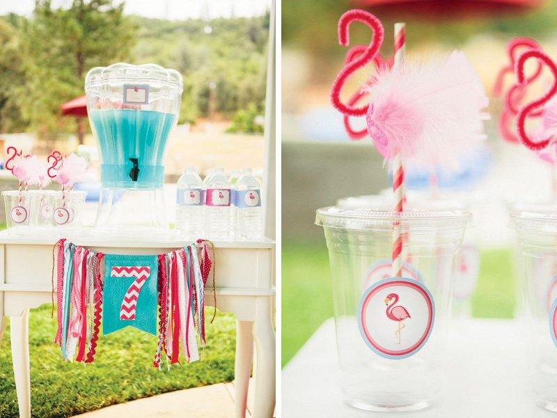 DIY pipe cleaner flamingo straws