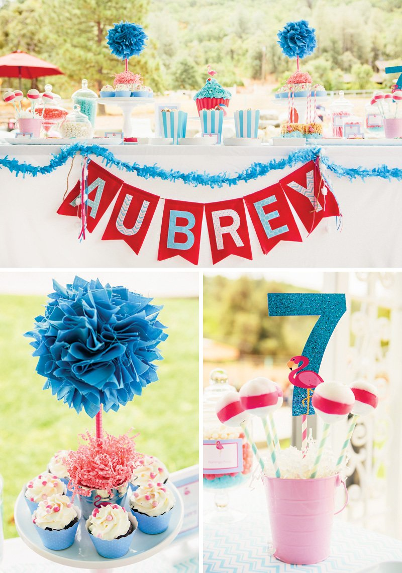 blue white and pink pool party dessert table