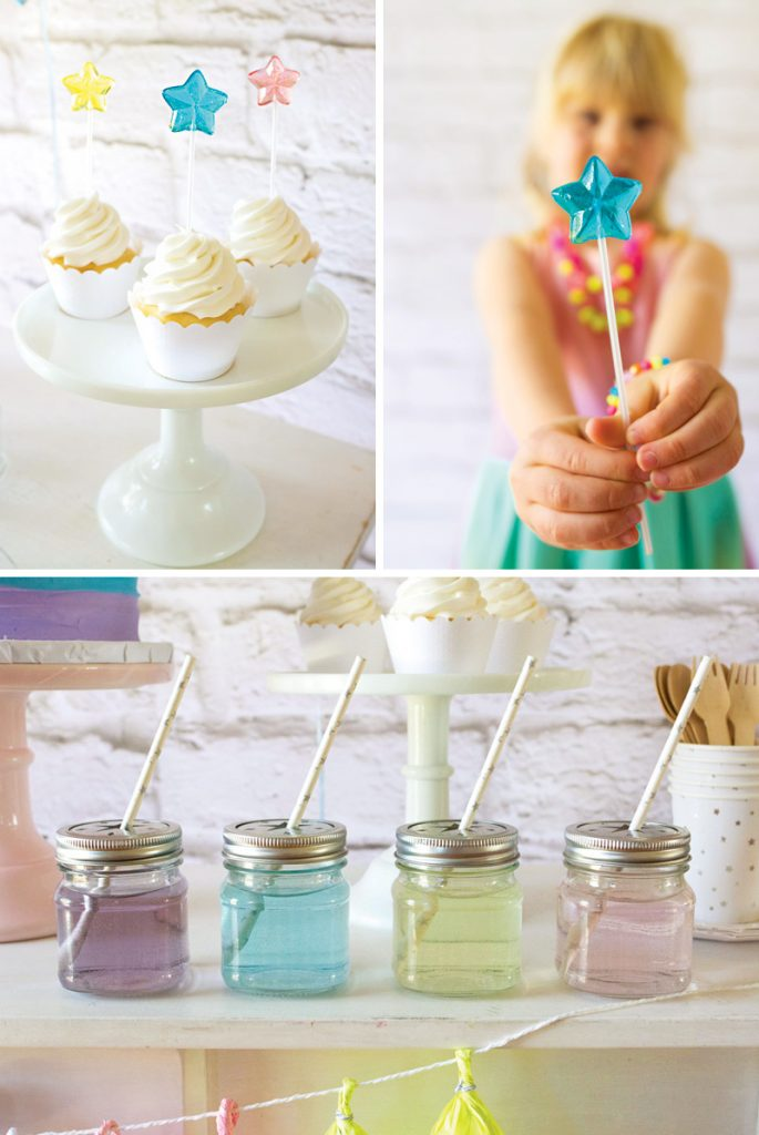 DIY candy star cupcake toppers
