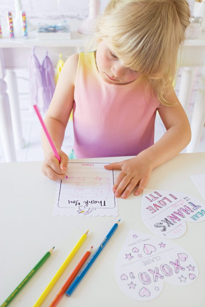 fill in birthday party thank you cards