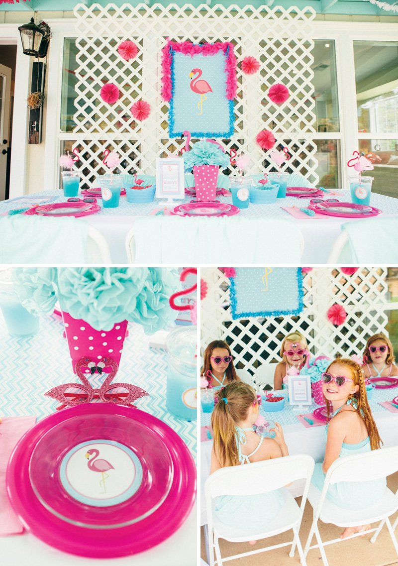flamingo birthday party tablescape