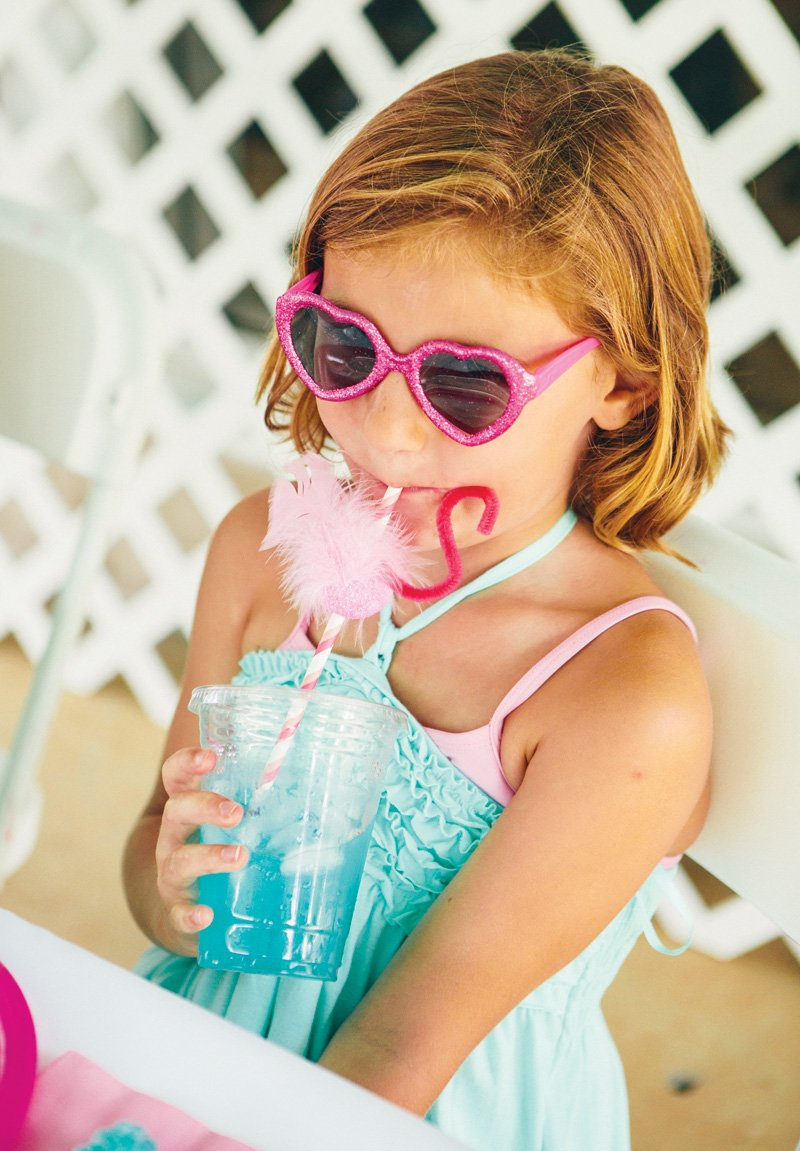 kids pool party outfit and sunglasses
