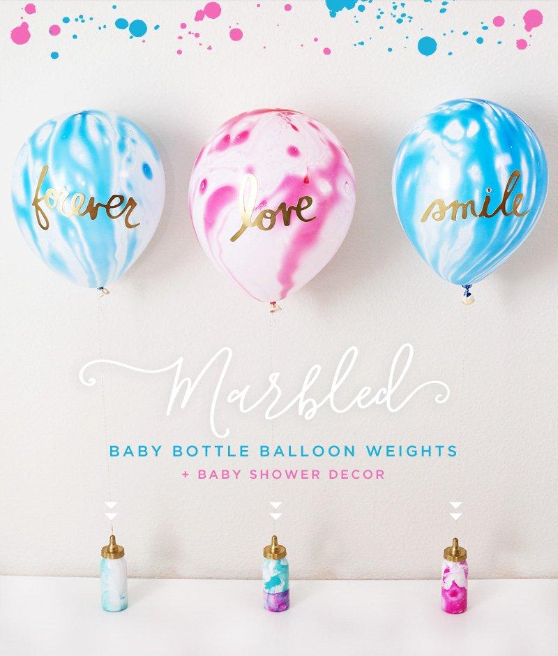 Marbled Baby Shower Balloon Weights & Centerpiece Idea