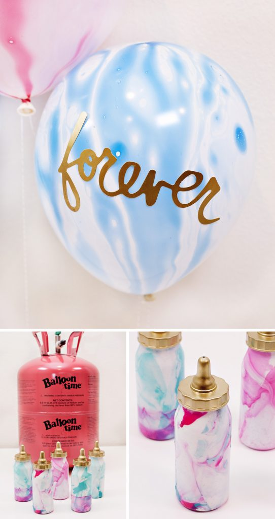 Marbled Baby Shower Balloon Weights & Word Balloons