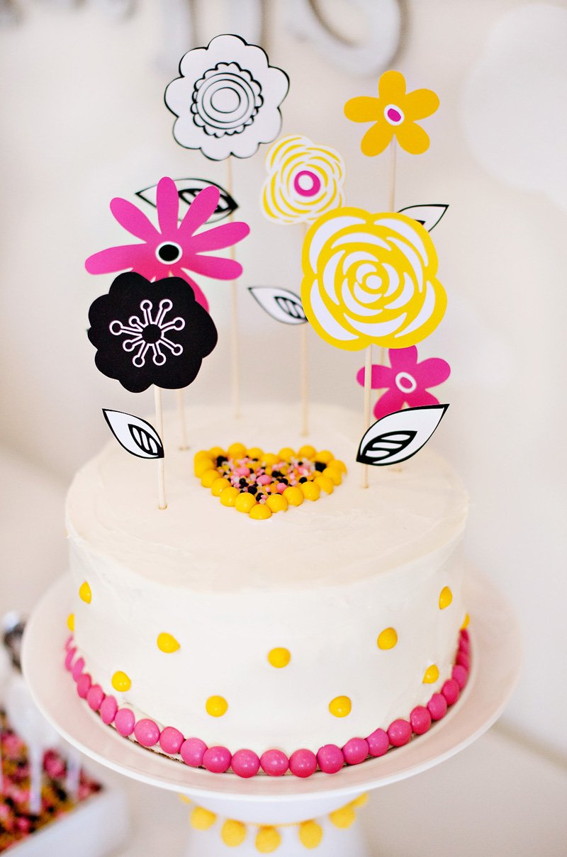 DIY Flower Cake Topper - Pink Yellow Black