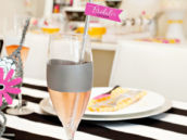 Bridal Shower Drink Flags and Pink Champagne