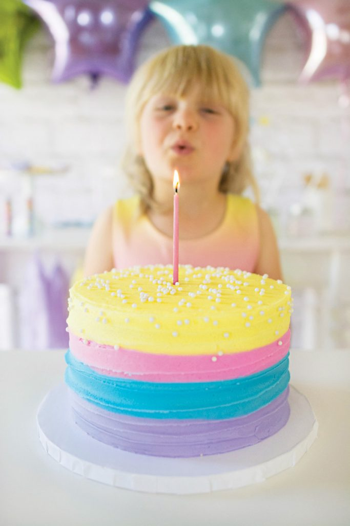 pastel rainbow birthday cake