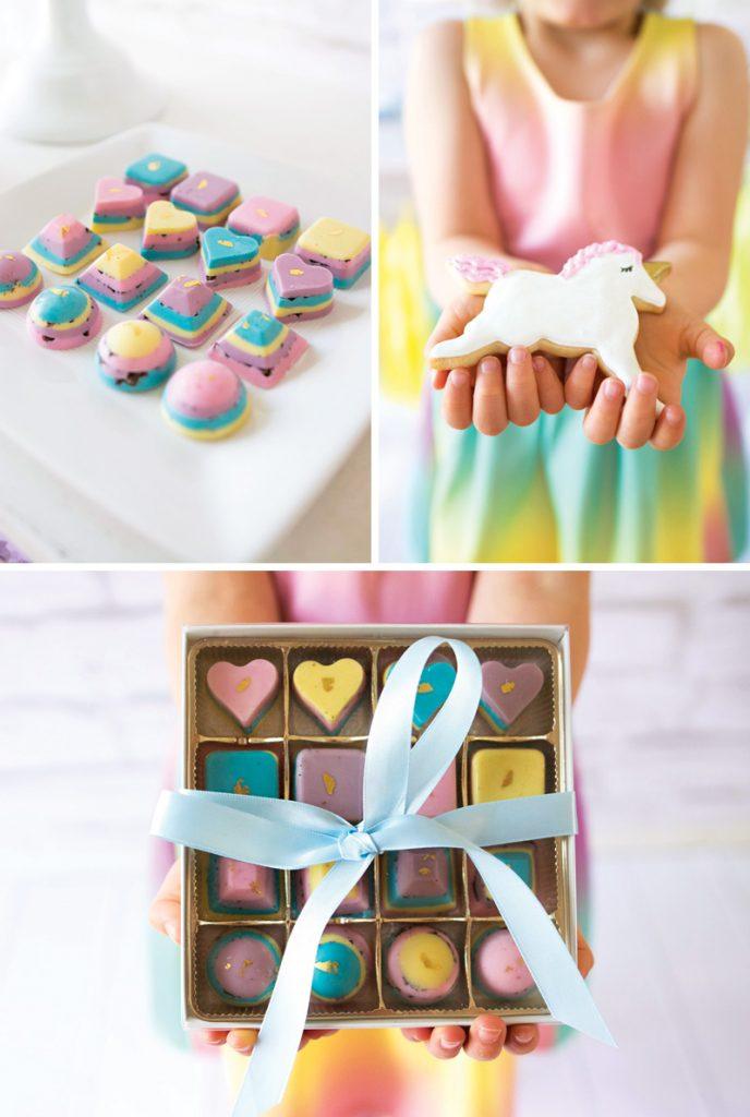 pastel rainbow chocolates