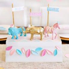 Safari Baby Shower Centerpiece - Pink Blue Gold Animals