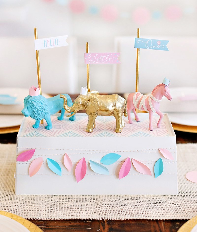 Safari Baby Shower Centerpiece - Pink Blue Gold Animals