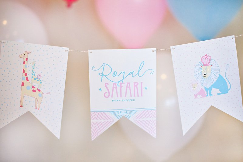 Royal Safari Baby Shower Banner - Free Printable