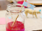 Mason Jar with Safari Giraffe Straw