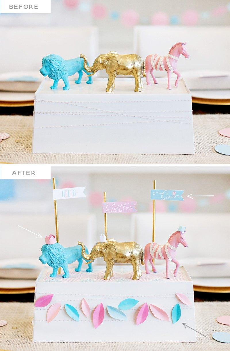 DIY Royal Safari Baby Shower Centerpiece