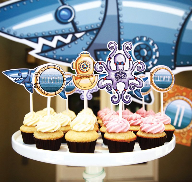 ocean steampunk cupcake toppers