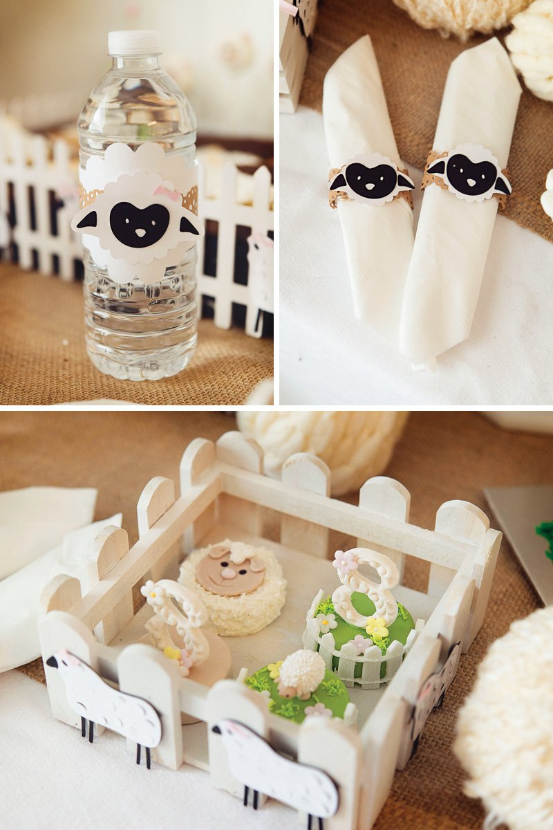 DIY lamb paper bottle and napkin wraps