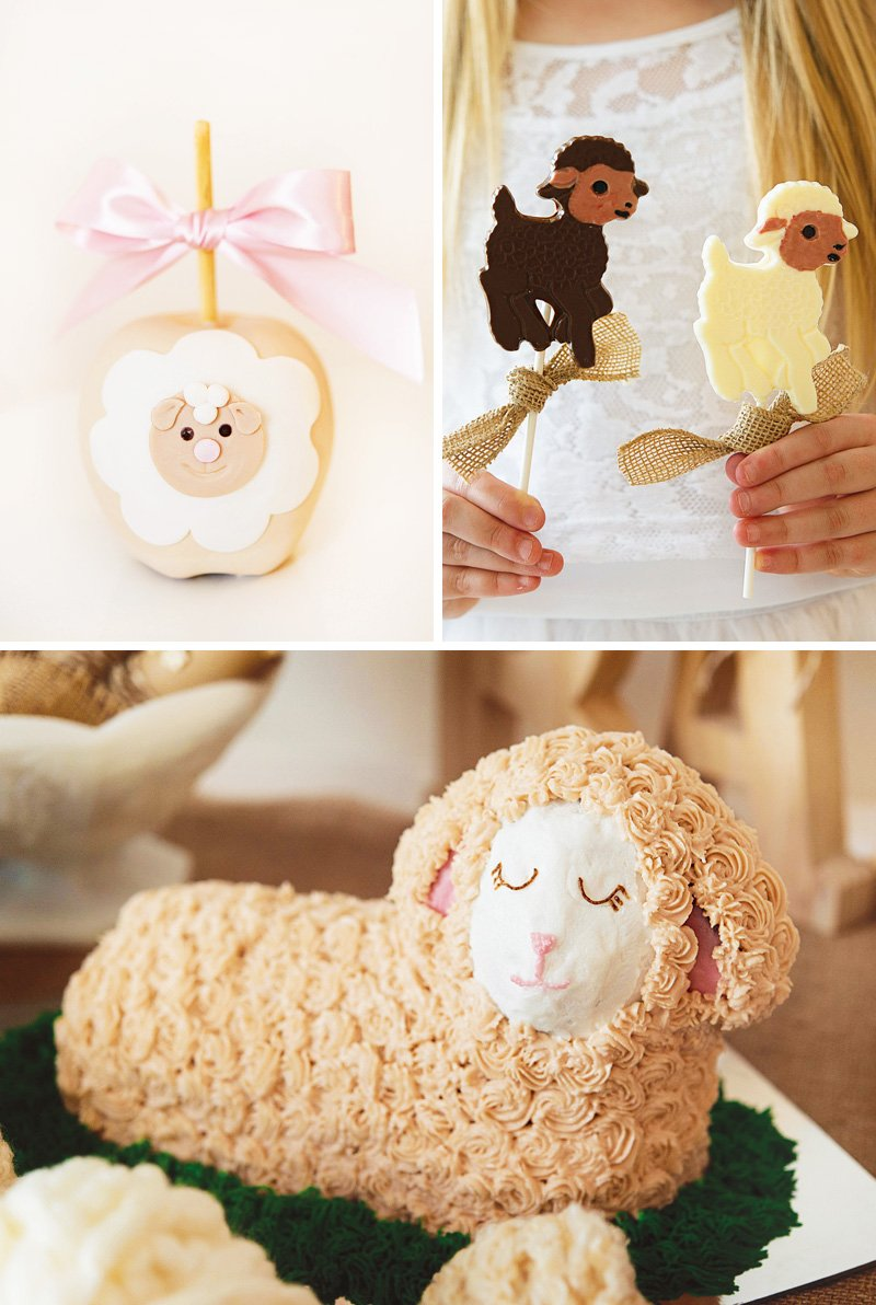 lamb shaped cake and desserts