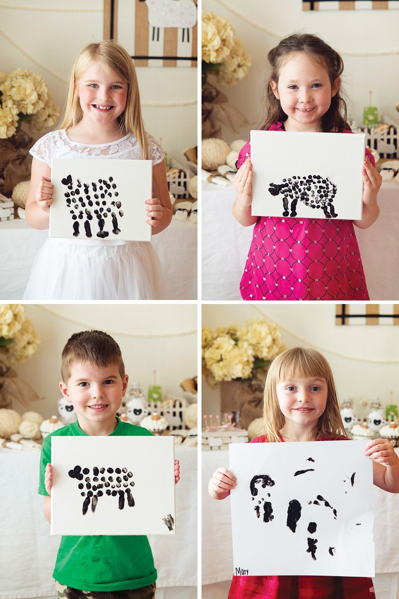 kids lamb fingerpainting activity