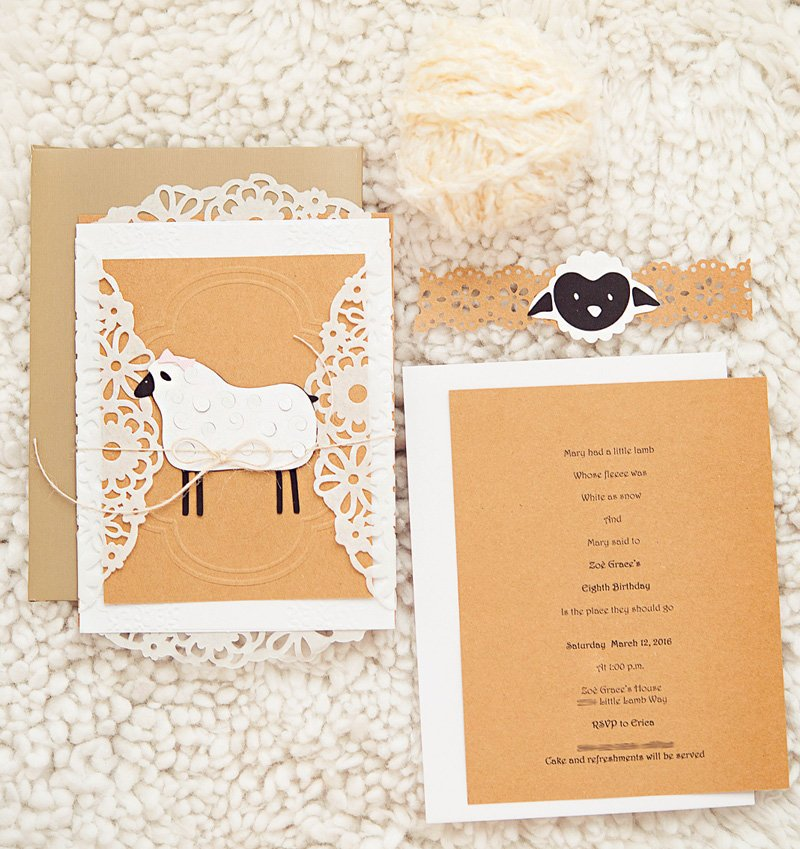 lamb themed party invitation