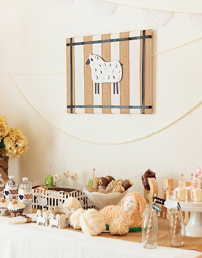 lamb themed dessert table