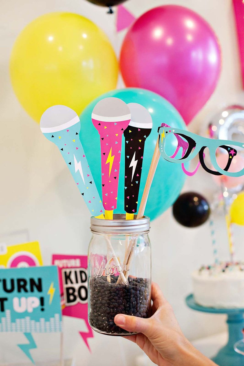 Printable Microphone and Sunglasses Photo Booth Props