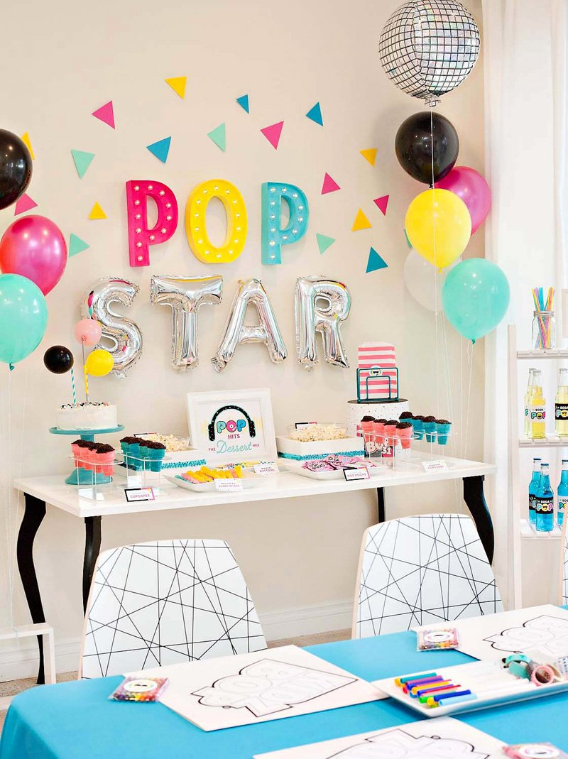 Pop Star Birthday Party Dessert Table and Backdrop