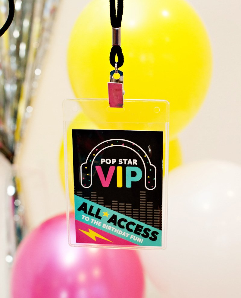 Printable Pop Star Party VIP Badges
