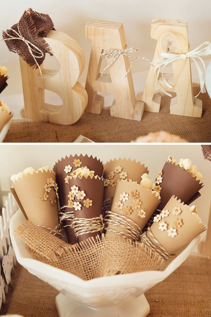 twine and burlap wrapped popcorn cones
