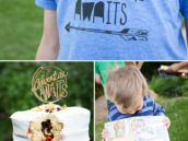 Adventure Awaits T-shirt and Surprise Inside Cake