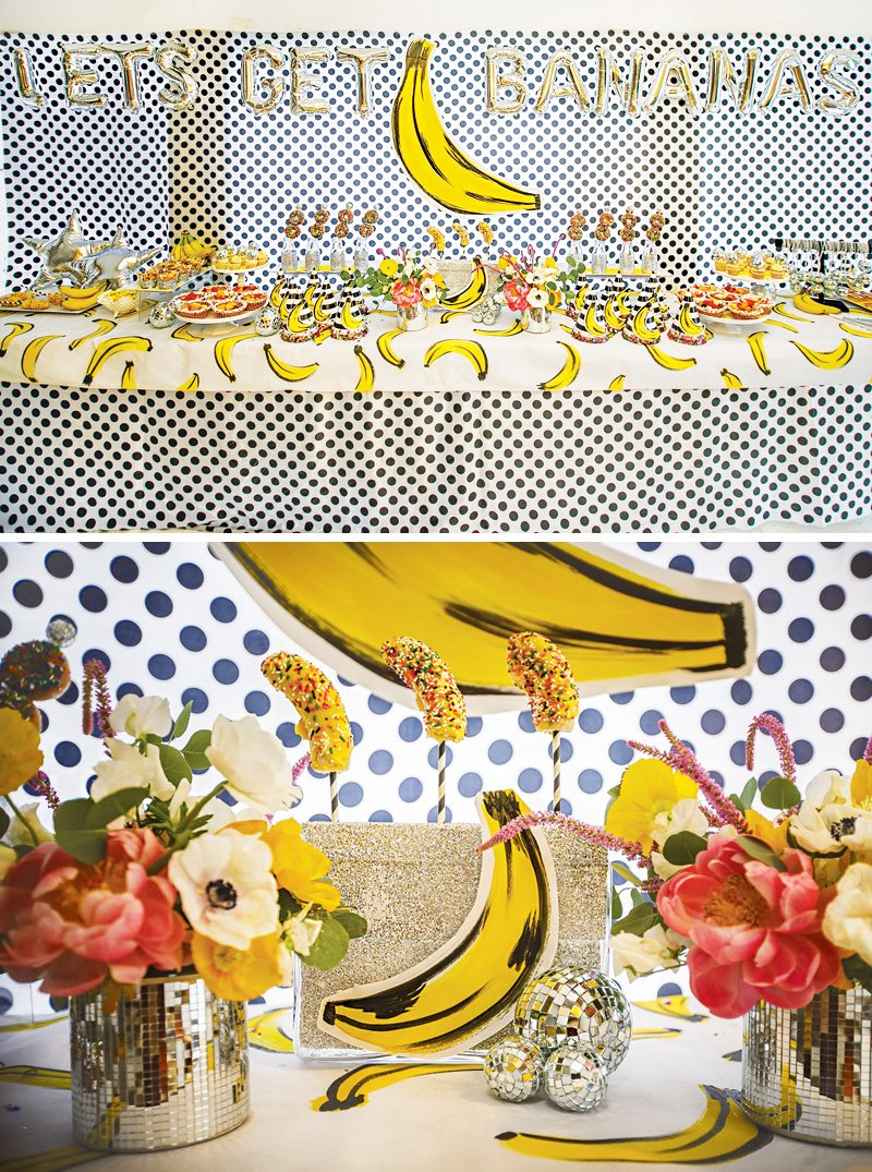 banana themed dessert table