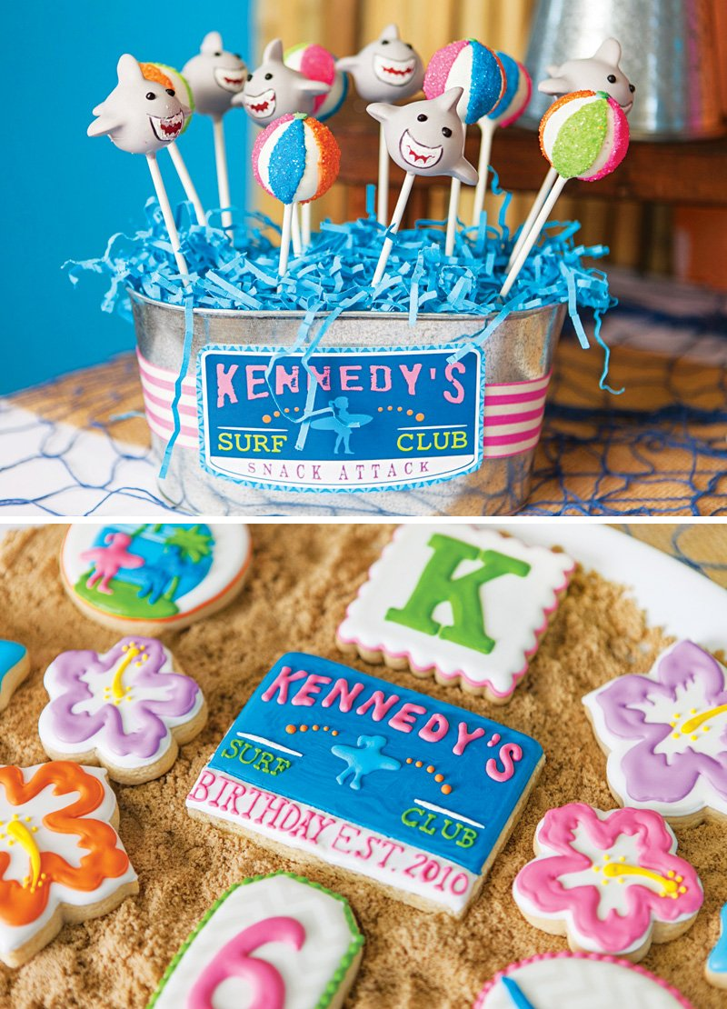 beach and ocean themed cake pops and cookies
