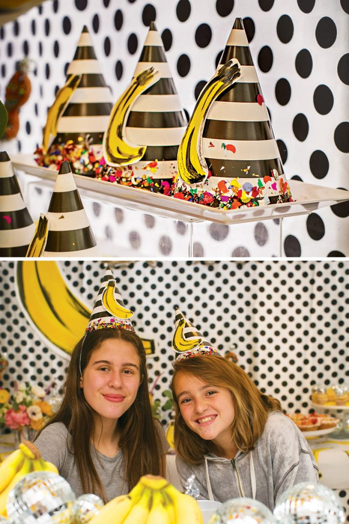 confetti decorated party hats
