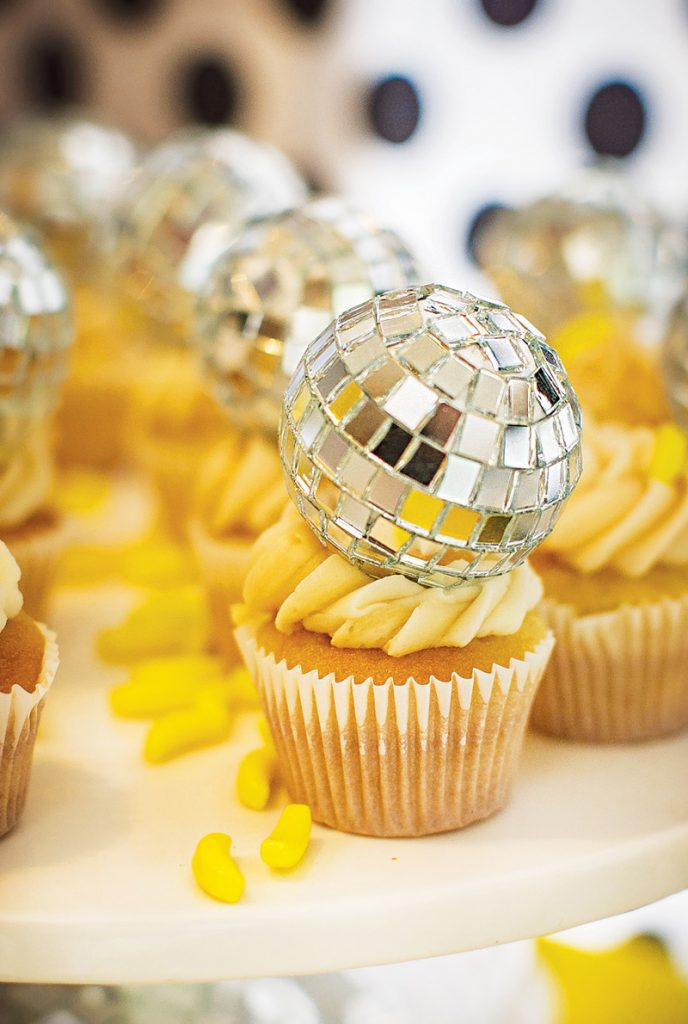 disco ball topped cupcakes