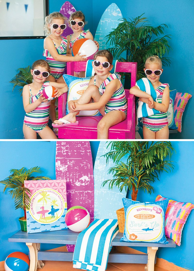 little girl's matching swimsuit party favors
